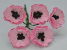 MEDIUM PINK POPPY / PAPAVER (1.8 cm) Mulberry Paper Flowers